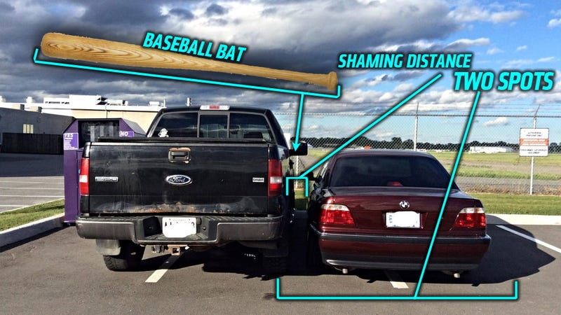 Illustration for article titled Ultimate-Level BMW Asshat Double Parks, Takes Bat To Pickup Truck