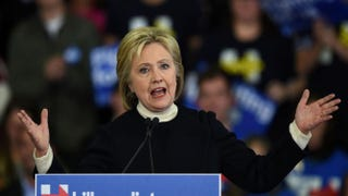 Democratic presidential hopeful Hillary Clinton speaks at her primary-night party Feb. 9, 2016, at Southern New Hampshire University in Hooksett, N.H.DON EMMERT/AFP/Getty Images