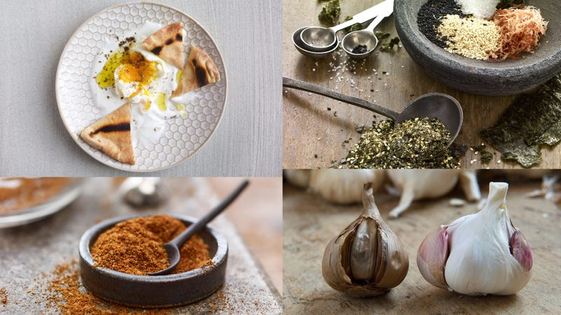 From top left clockwise, a dish of pita, eggs and za'atar, the Japanese seaweed sprinkle furikake, black garlic, and the Ethipoian spice blend berbere. (Photos from top left clockwise: Deb Lindsey for The Washington Post/Getty Images, McCormick, Thierry Zoccolan/AFP/Getty Images, McCormick.)