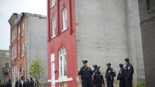 Baltimore police officers gather near the Western District Police Station in anticipation of a protest in honor of Freddie Gray April 25, 2015.Mark Makela/Getty Images