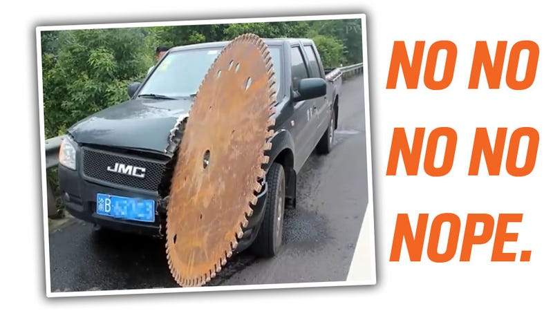 Illustration for article titled Giant Circular Saw Blade Flies Off Truck, Cuts Into Another Truck