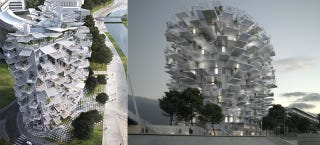 Illustration for article titled This awesome tree building would be perfect if we had flying cars