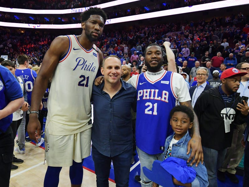 644516f4d 21 of the Philadelphia 76ers  76ers co-owner Michael Rubin  and Meek Mill  and his son Papi after the game against the Miami Heat at Wells Fargo  Center on ...