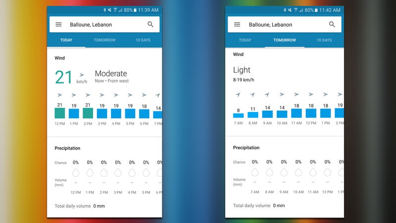 Illustration for article titled Google's Weather Card Can Now Show Hourly Wind and Precipitation Forecasts
