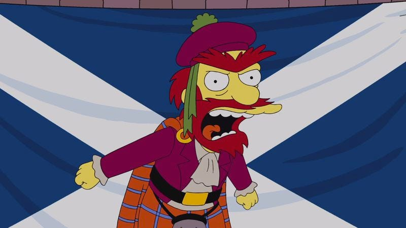 Illustration for article titled The Simpsons' Groundskeeper Willie finally weighs in on Scottish independence