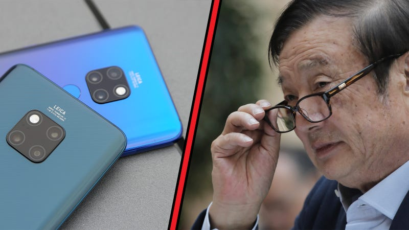 Left: Huawei P20 Pro smartphone. Right: Ren Zhengfei, founder and CEO of Huawei.