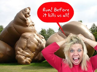 Illustration for article titled Giant Inflatable Turd Terrorizes Swiss Town