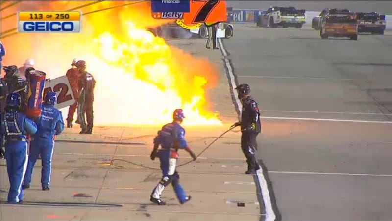 Illustration for article titled NASCAR Crew Member Caught In Middle Of Giant Fireball