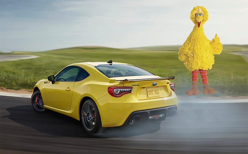 (Photo Credit: Subaru, altered with Sesame Street screengrab, which was also altered. Big Bird wouldn't be that rude.)