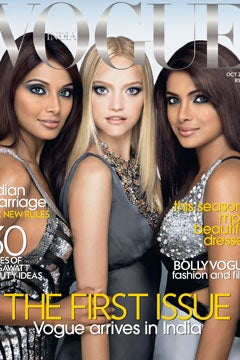 Illustration for article titled Vogue India Debuts With Australian Blonde On Front, Bleeding Heart Inside?