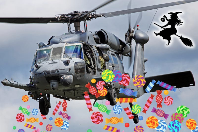 Illustration for article titled National Guard Blackhawk Makes Rogue Candy Raid On Halloween Party