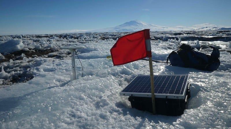 Monitoring equipment set up to study Antarctica's McMurdo ice shelf.