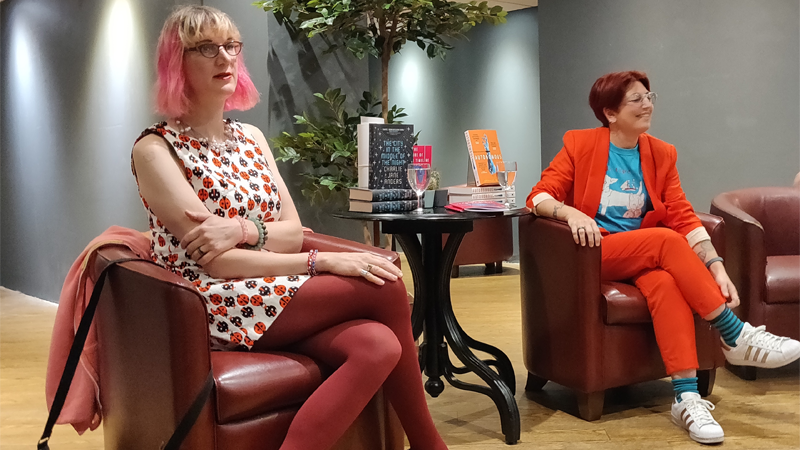 Charlie Jane Anders and Annalee Newitz, discussing their novels at a recent event in London, England.