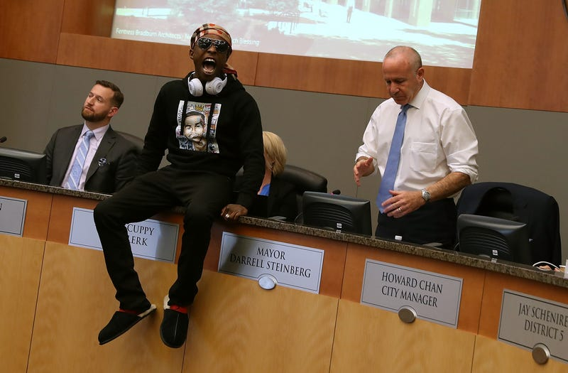 Stevante Clark, brother of Stephon Clark, disrupts a special city council meeting at Sacramento City Hall on March 27, 2018 in Sacramento, California.