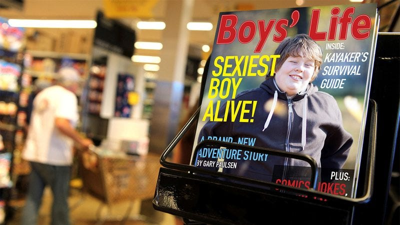 Boy's Life for sale on a newsstand.