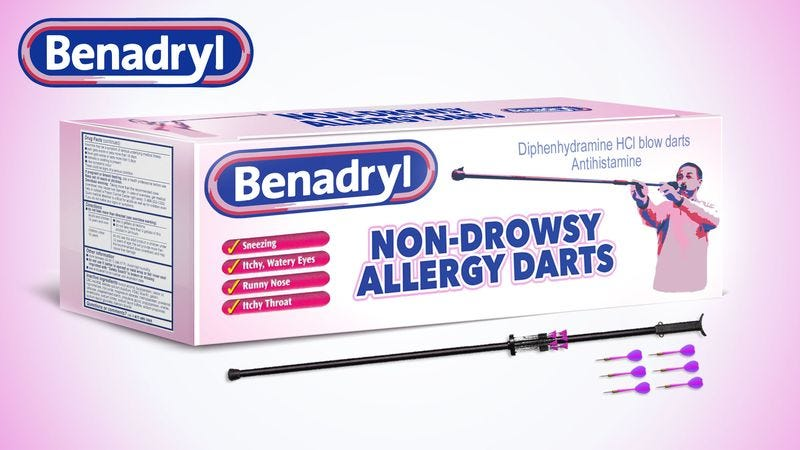 Illustration for article titled Benadryl Introduces New Non-Drowsy Allergy Dart