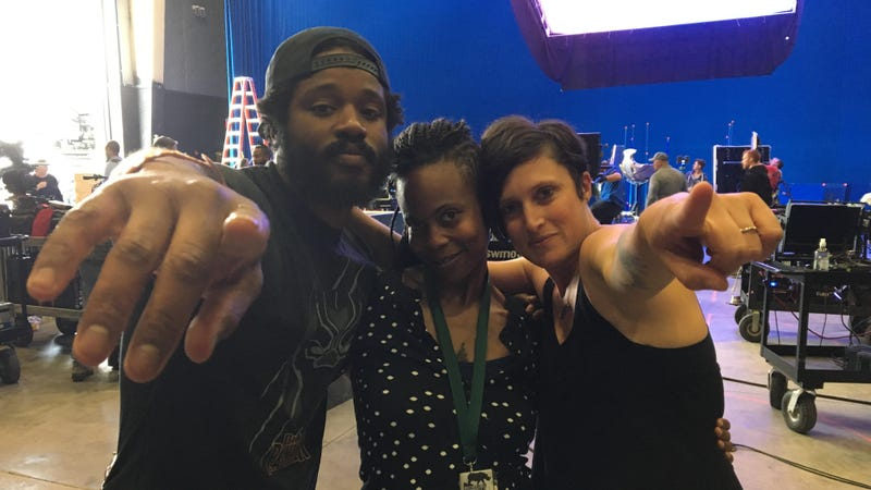 From left to right: Black Panther director Ryan Coogler, production designer Hannah Beachler, and cinematographer Rachel Morrison.