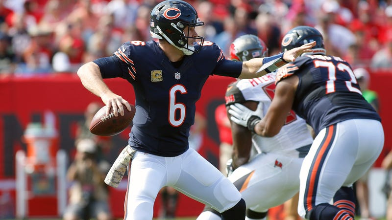 Illustration for article titled Jay Cutler Ends First Half With Hail Mary