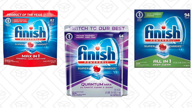 Finish All in 1 Powerball Fresh, 94ct, | $12 | Amazon | After $3 off couponFinish Max in 1 Powerball, 82ct | $13 | Amazon | After $3 off couponFinish Quantum Max Powerball, 64ct, Ultimate Clean & Shine | $10 | Amazon | After $3 off coupon