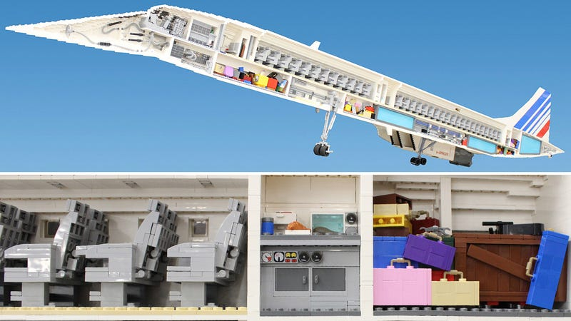 Illustration for article titled 65,000-Piece Lego Concorde Reveals all the Plane's Inner Workings