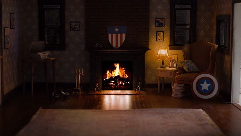Screenshot: Captain America's Brooklyn Apartment Fireside Video In 4K