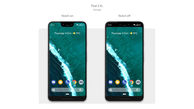 Here's a rendering of what the Pixel 3 XL might look like based on an alleged screen protector that leaked on Weibo earlier this week.