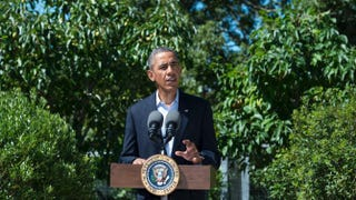 President Barack Obama, delivering a statement on Egypt at his vacation home, Aug. 15, 2013, in Chilmark, Martha's Vineyard, Mass.Rick Friedman-Pool/Getty Images