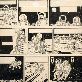 Illustration for article titled Tintin moon art sells for $1.64 million