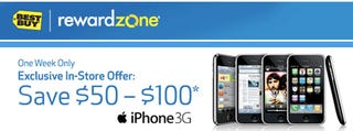 Illustration for article titled iPhone 3G $50 and $100 Off for Best Buy Reward Zone Members