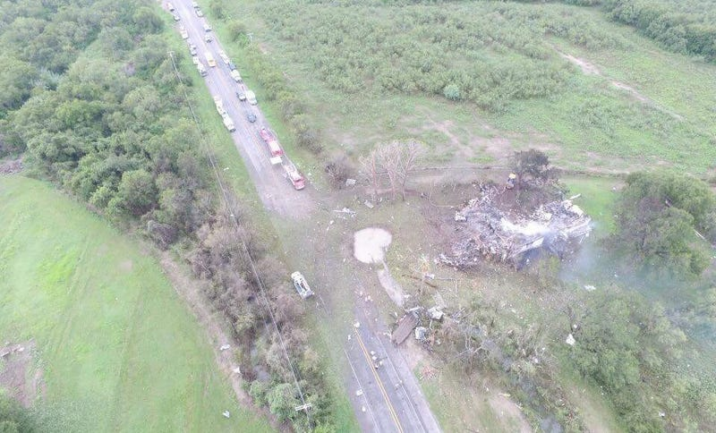 Drone photo of the explosion via Christopher Hiller.