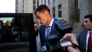 Atlanta Hawks forward Thabo Sefolosha leaves a courthouse in New York City after attending his trial Oct. 7, 2015. Sefolosha was charged with resisting arrest and other crimes during a confrontation with police officers outside a trendy Manhattan nightclub in April 2015.JEWEL SAMAD/AFP/Getty Images