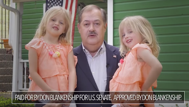 Don Blankenship and two little blond girls in his racist campaign ad