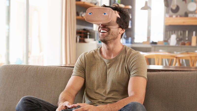 Illustration for article titled Sony Announces Discreet New Flesh-Colored VR Helmet That Blends In With Your Face