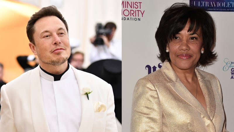 Elon Musk (left) and Flint Mayor Karen Weaver (right)