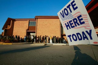 Voters line up to vote outside Bethel Missionary Baptist Church in the presidential election Nov. 4, 2008, in Birmingham, Ala.Mario Tama/Getty Images
