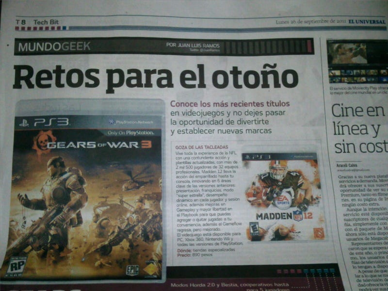 Illustration for article titled No One Told El Universal Gears 3 Was an Xbox 360 Exclusive