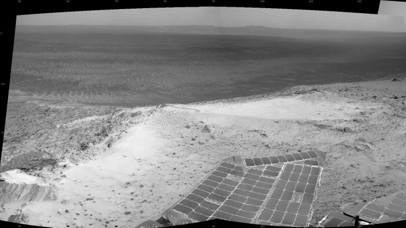 """Opportunity's view from the summit of """"Cape Tribulation."""""""