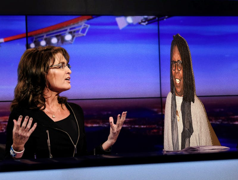 Illustration for article titled Inconsolable Sarah Palin Opens Up About Sacha Baron Cohen Betrayal To Cardboard Cutout Of Whoopi Goldberg