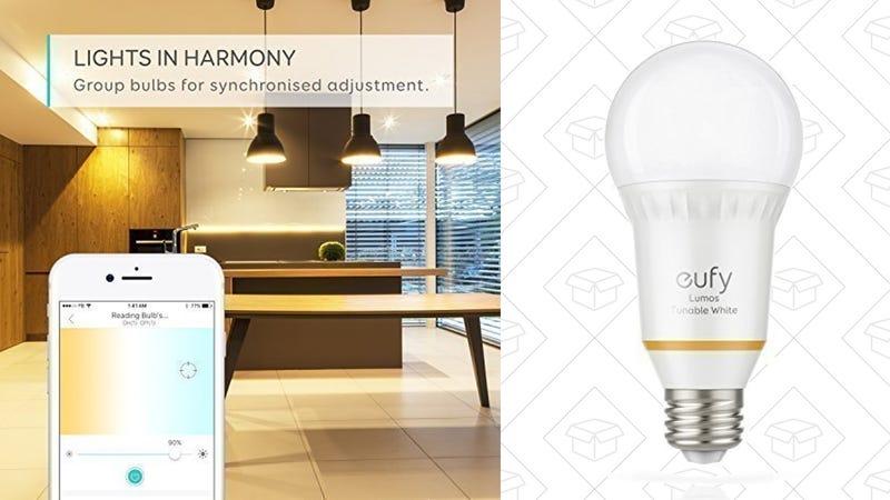 Eufy Lumos Tunable Smart Bulb | $17 | Amazon 2-Pack Eufy Tunable Smart Bulbs + Eufy Genie | $55 | Amazon