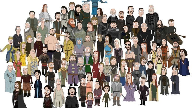 Illustration for article titled Game Of Thrones' characters re-drawn in Bob's Burgers style