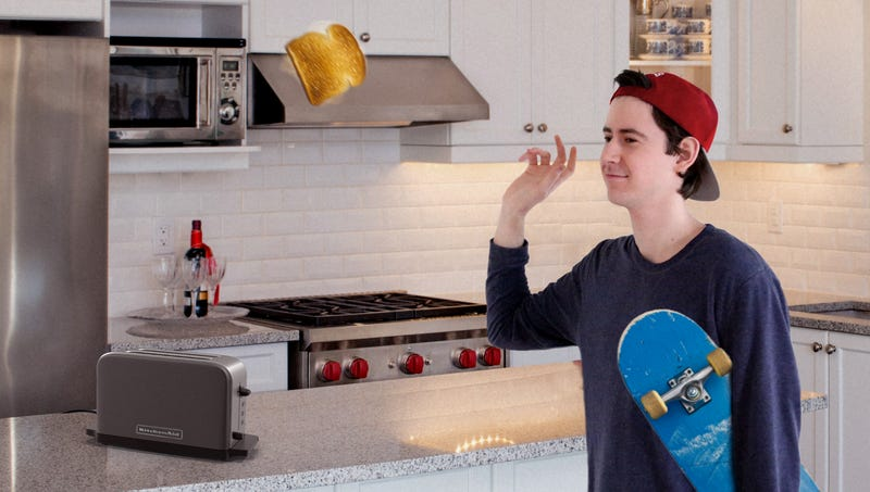 Illustration for article titled KitchenAid Unveils Spring-Loaded Toaster That Allows Rad High Schoolers To Grab Breakfast In Midair While Leaving House