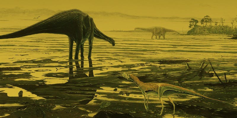 Illustration for article titled Hundreds of Dinosaur Footprints Found in a Scottish Lagoon