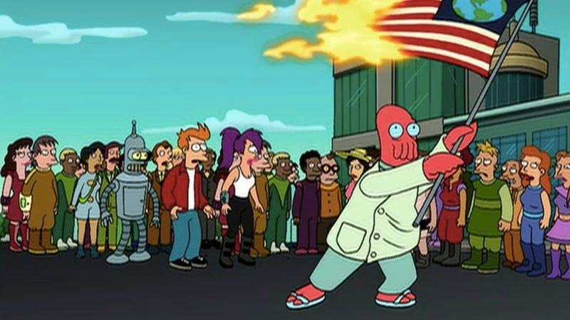 "Illustration for article titled Futurama: ""A Taste Of Freedom""/""Bender Should Not Be Allowed On Television"""