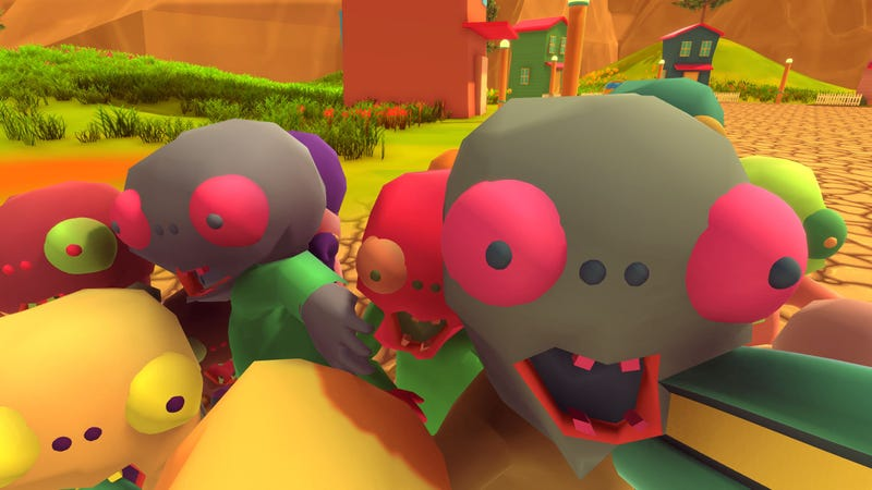 You are being swarmed by adorable zombies. You are probably going to die, but you will at least die fulfilled.