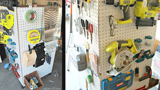 Illustration for article titled This Portable Pegboard Caddy Rolls Wherever You Need Your Tools
