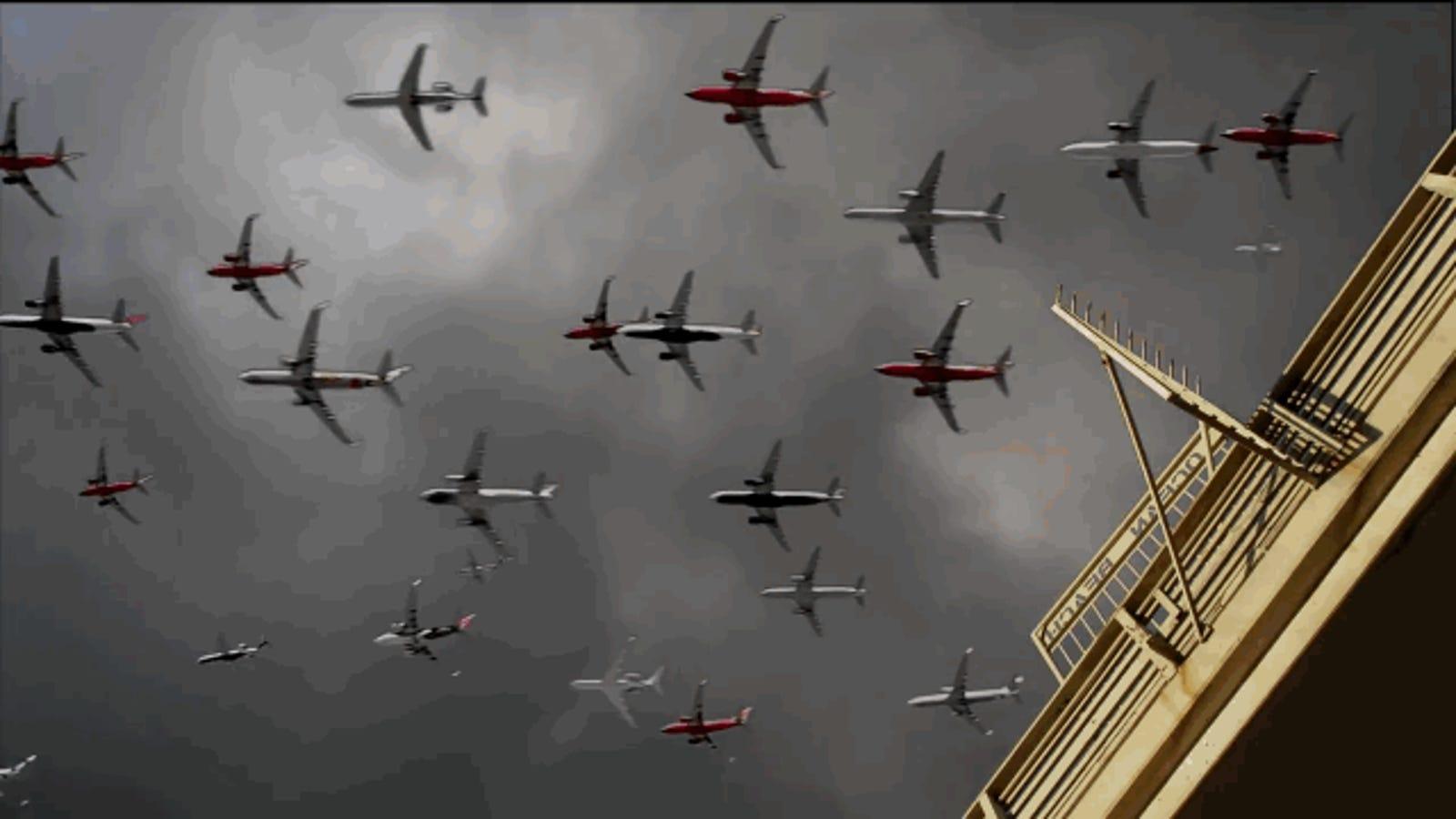 ¿Qué aspecto tienen 90 aviones despegando a la vez?