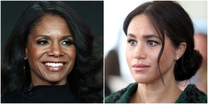 (l-r) Audra McDonald speaks during the the 2019 Winter Television Critics Association Press Tour on January 30, 2019 in Pasadena, California; Meghan, Duchess of Sussex attends a Commonwealth Day Youth Event at Canada House on March 10, 2019 in London, England.