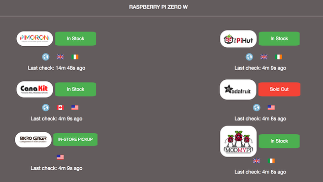 Pi Locator Checks Stock for the Raspberry Pi Zero Across Several Stores At Once