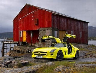 "Illustration for article titled Top Gear Declares Day-Glo Yellow Electric Mercedes SLS ""The Future"""