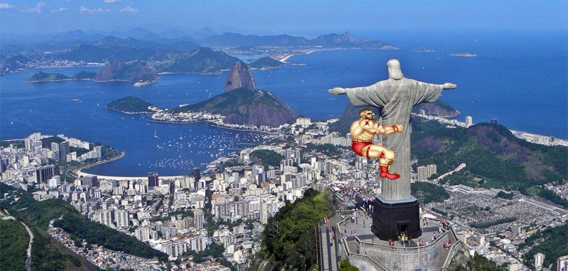 Illustration for article titled Street Fighter Replaces Giant Jesus Statue With... Soccer Trophy?
